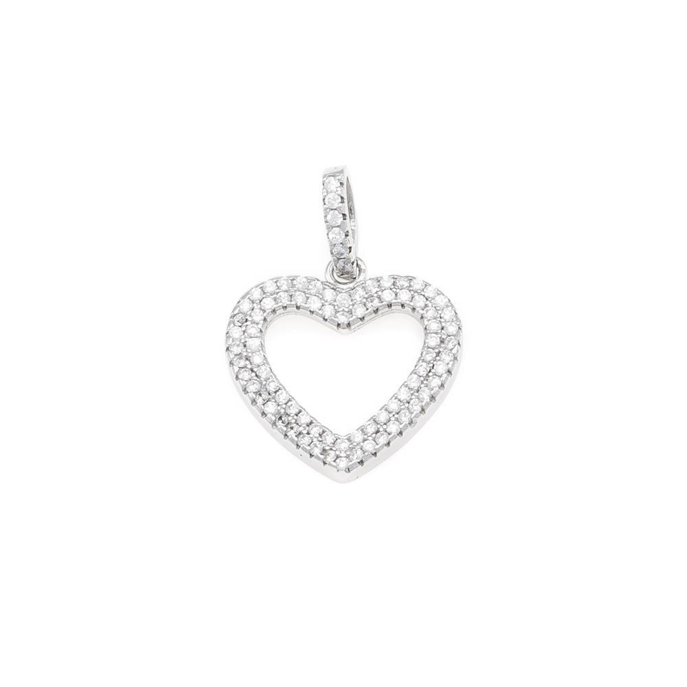 Paclo 16C065IPPR999 argento ag 925 Pendente Galvanica Rodiata Zircone Bianco Cuore 15cm