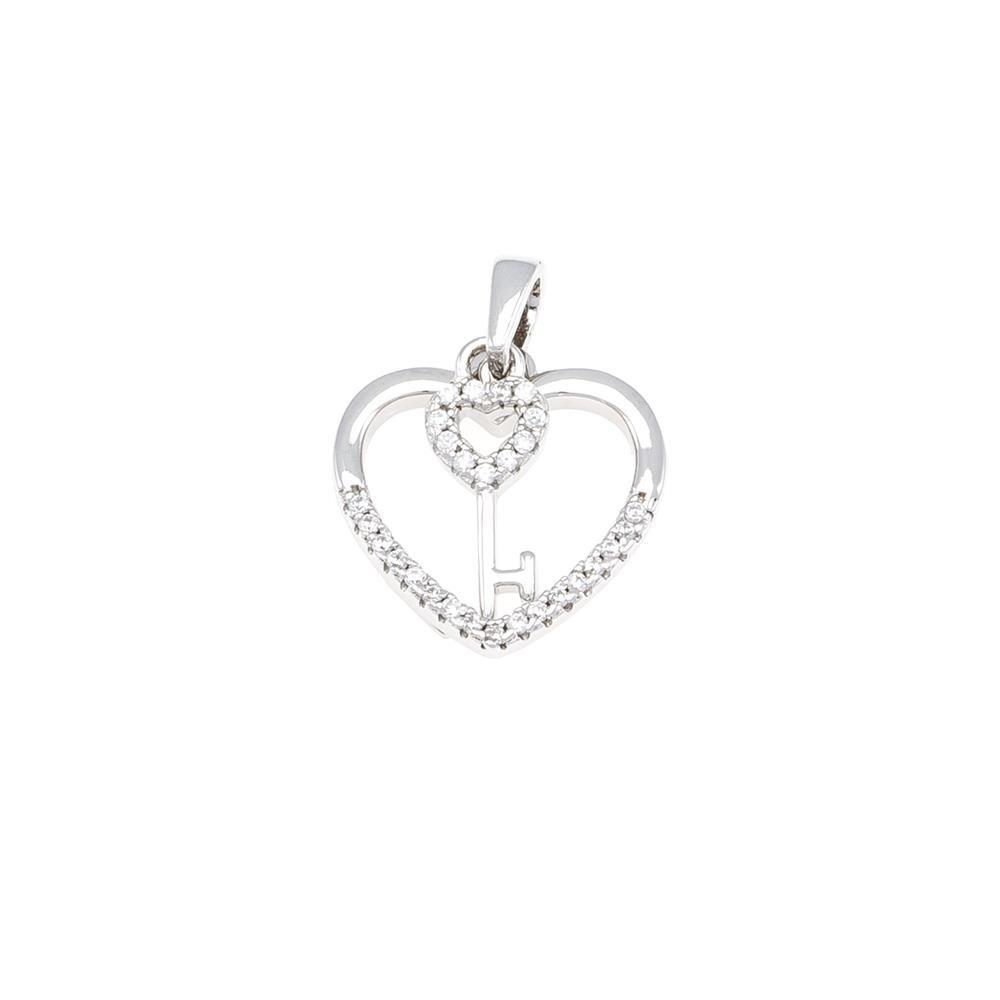 Paclo 16C066IPPR999 argento ag 925 Pendente Galvanica Rodiata Zircone Bianco Cuore 15cm