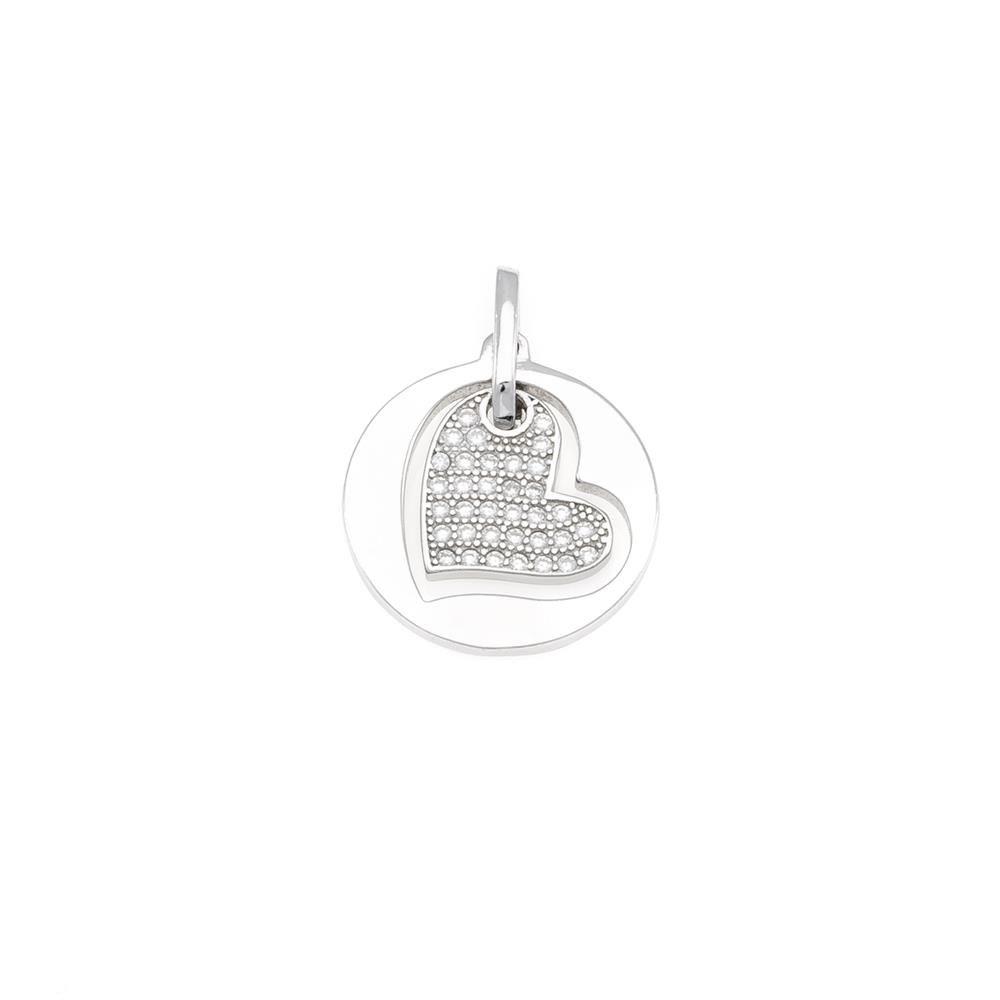 Paclo 16C068IPPR999 argento ag 925 Pendente Galvanica Rodiata Zircone Bianco Cuore 15cm