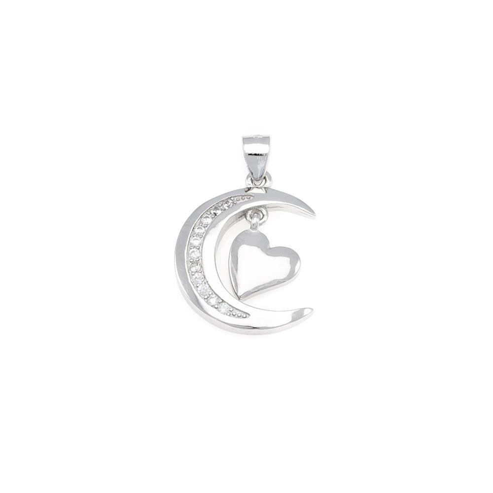 Paclo 16C071IPPR999 argento ag 925 Pendente Galvanica Rodiata Zircone Bianco Cuore 16cm