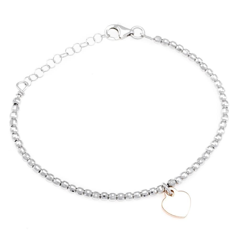 Paclo 16C078LIBP999 argento ag 925 Bracciale Galvanica Rose Diamantato Cuore 17 piu 3cm