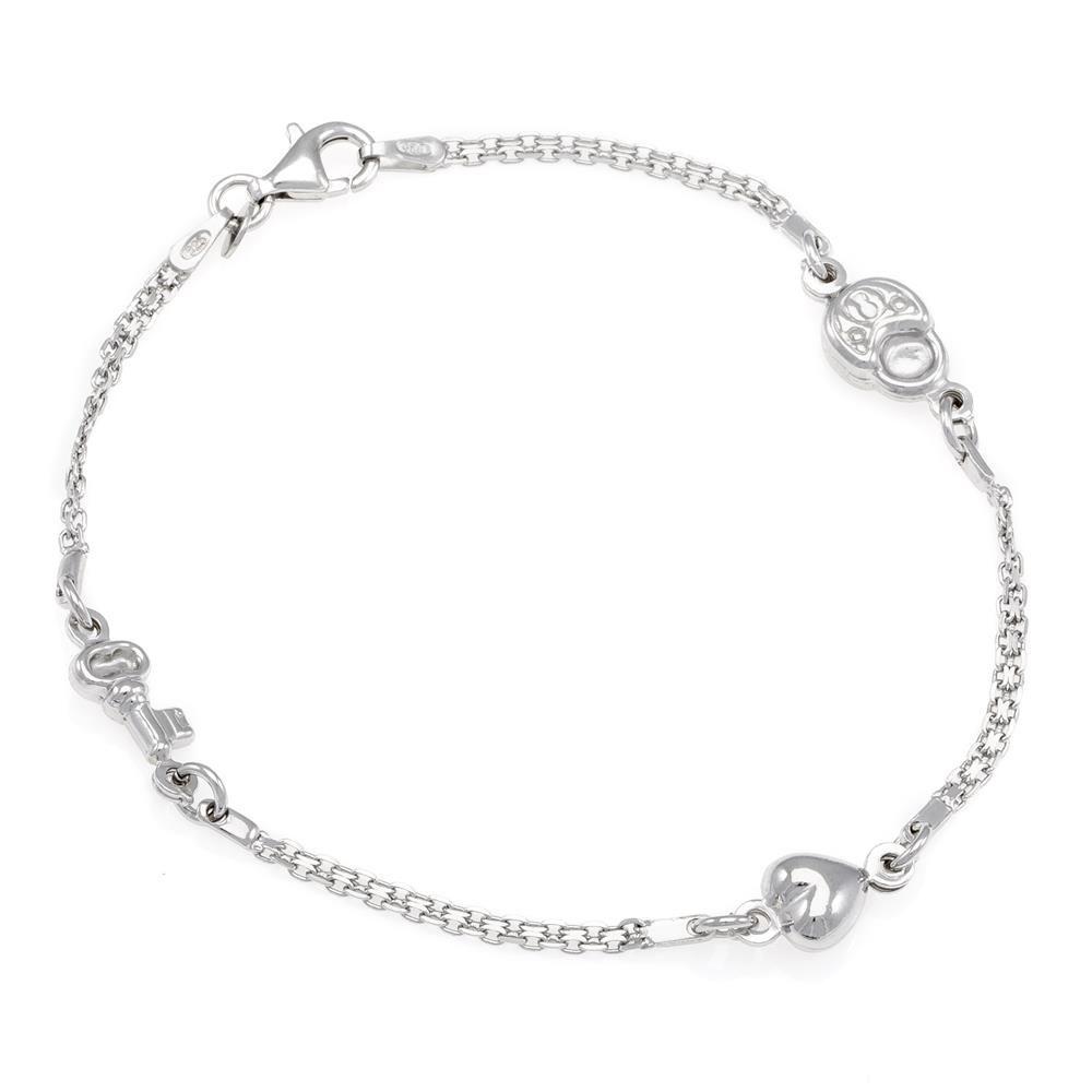 Paclo 16C085LIBR999 argento ag 925 Bracciale Galvanica Rodiata Love 19cm