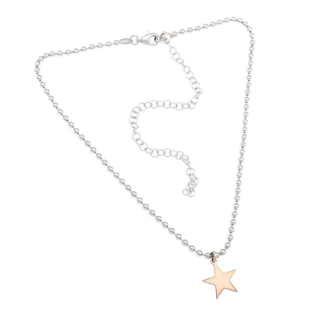 Paclo 16CH01LINP999 argento ag 925 Collana Galvanica Rose Choker Stella 30 piu 12cm