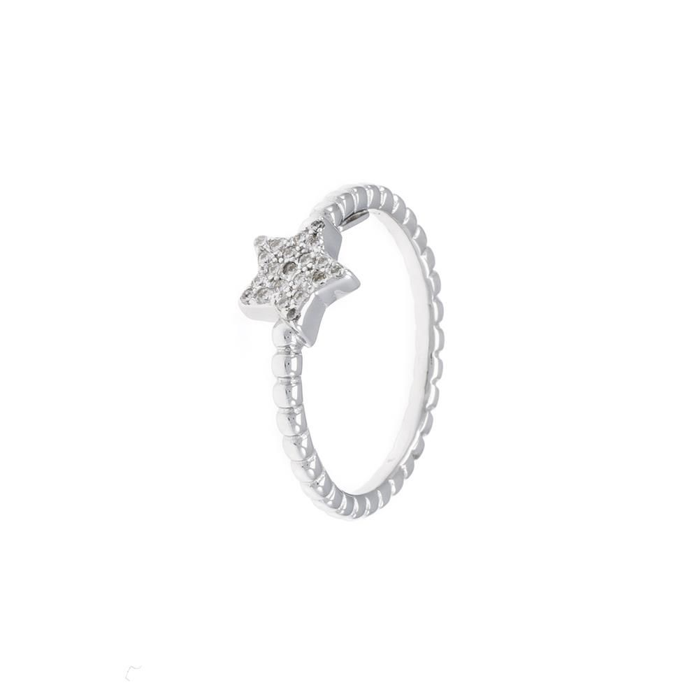 Paclo 16CV01IPRR99U argento ag 925 Anello Dim 18 ITA o 58 ISO Galvanica Rodiata Zircone Bianco Stella