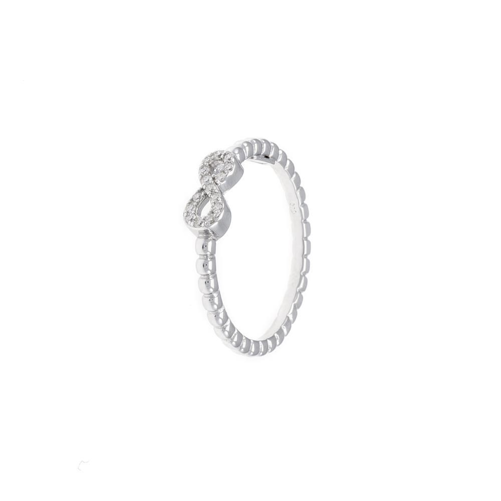 Paclo 16CV02IPRR99U argento ag 925 Anello Dim 18 ITA o 58 ISO Galvanica Rodiata Zircone Bianco Infinito