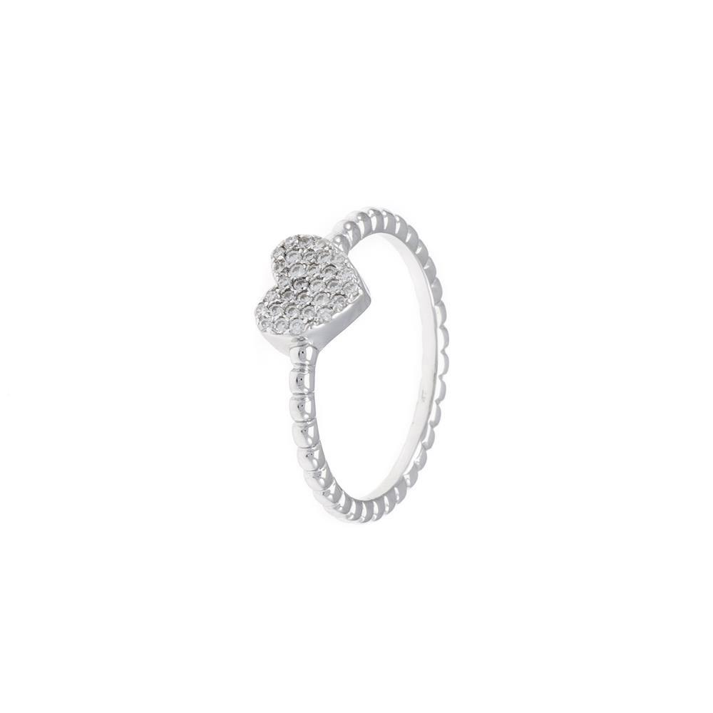 Paclo 16CV03IPRR99U argento ag 925 Anello Dim 18 ITA o 58 ISO Galvanica Rodiata Zircone Bianco Cuore