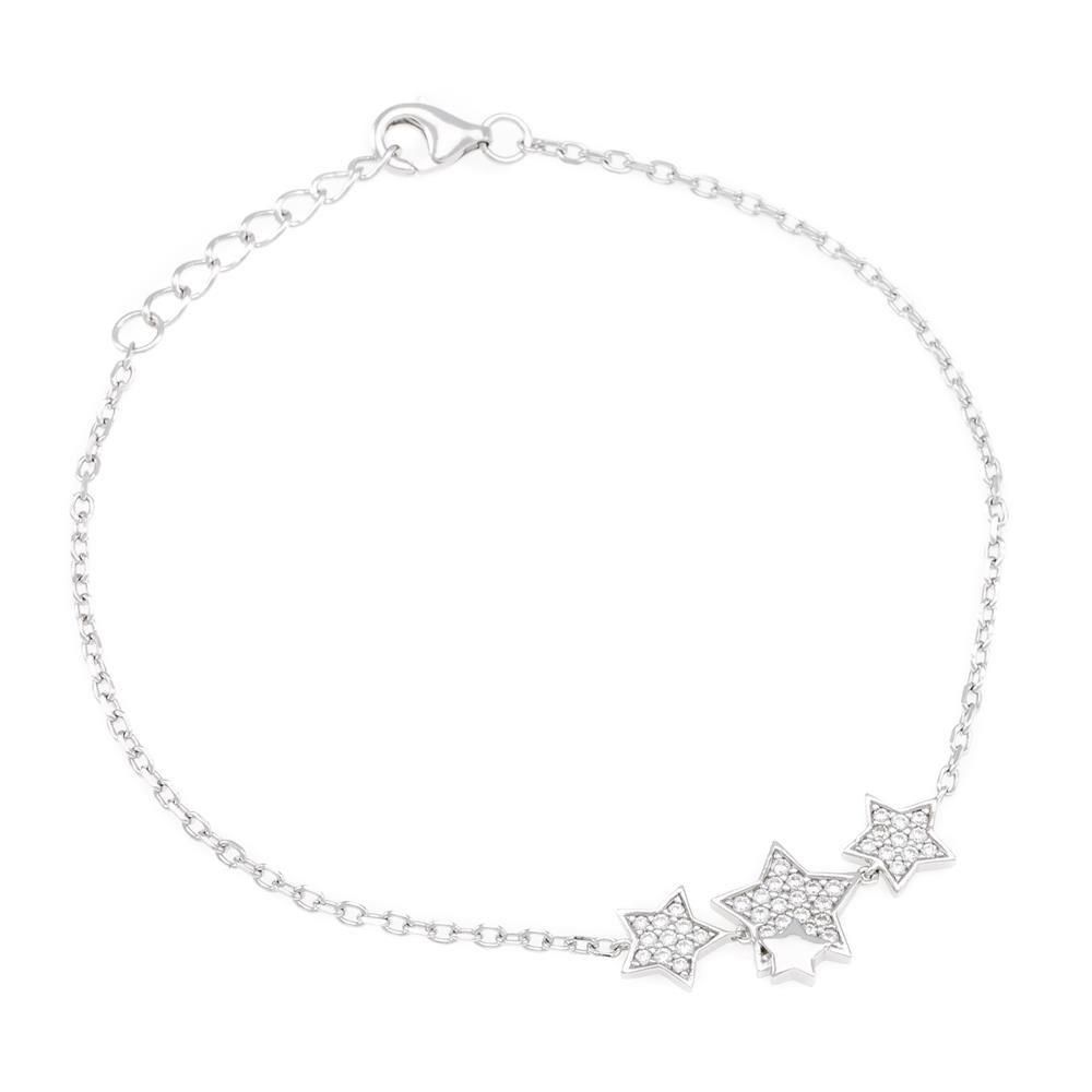 Paclo 16CV04IPBR999 argento ag 925 Bracciale Galvanica Rodiata Zircone Bianco Stella 16 piu 2cm