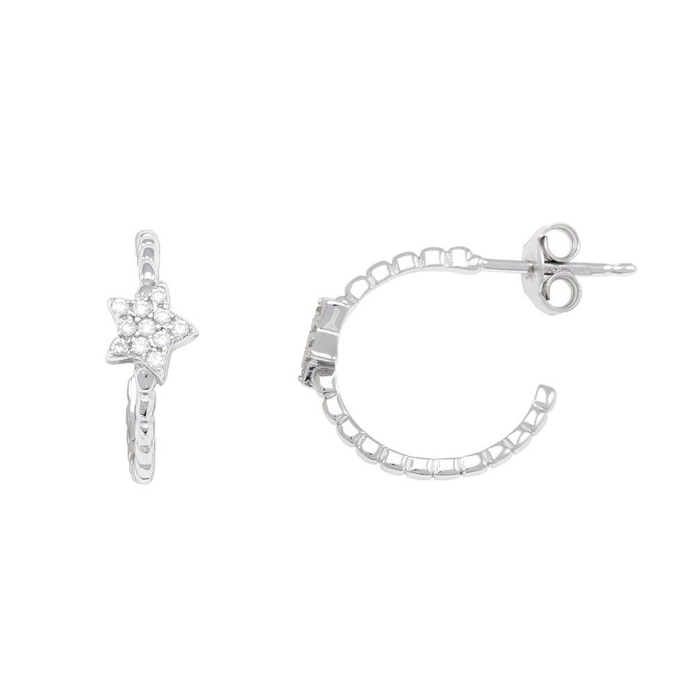 Paclo 16CV08IPER999 argento ag 925 Orecchini Galvanica Rodiata Zircone Bianco Stella 15cm