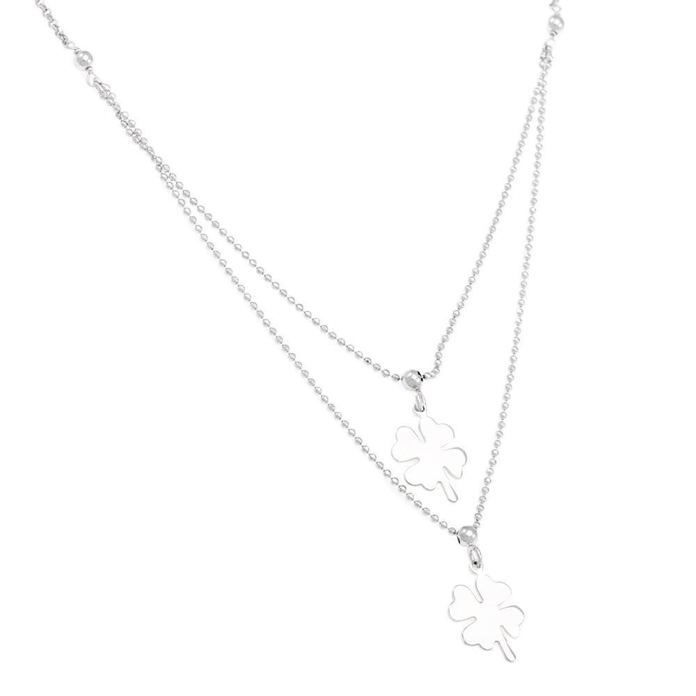 Paclo 16FI24LINR999 argento ag 925 Collana Galvanica Rodiata Multifilo Quadrifoglio 40 piu 3cm