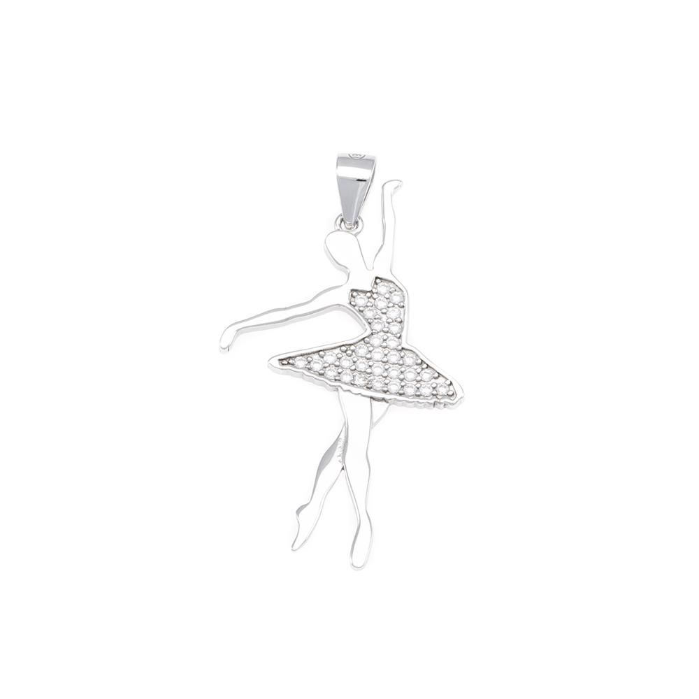 Paclo 16M013IPPR999 argento ag 925 Pendente Galvanica Rodiata Zircone Bianco Ballerina 3cm