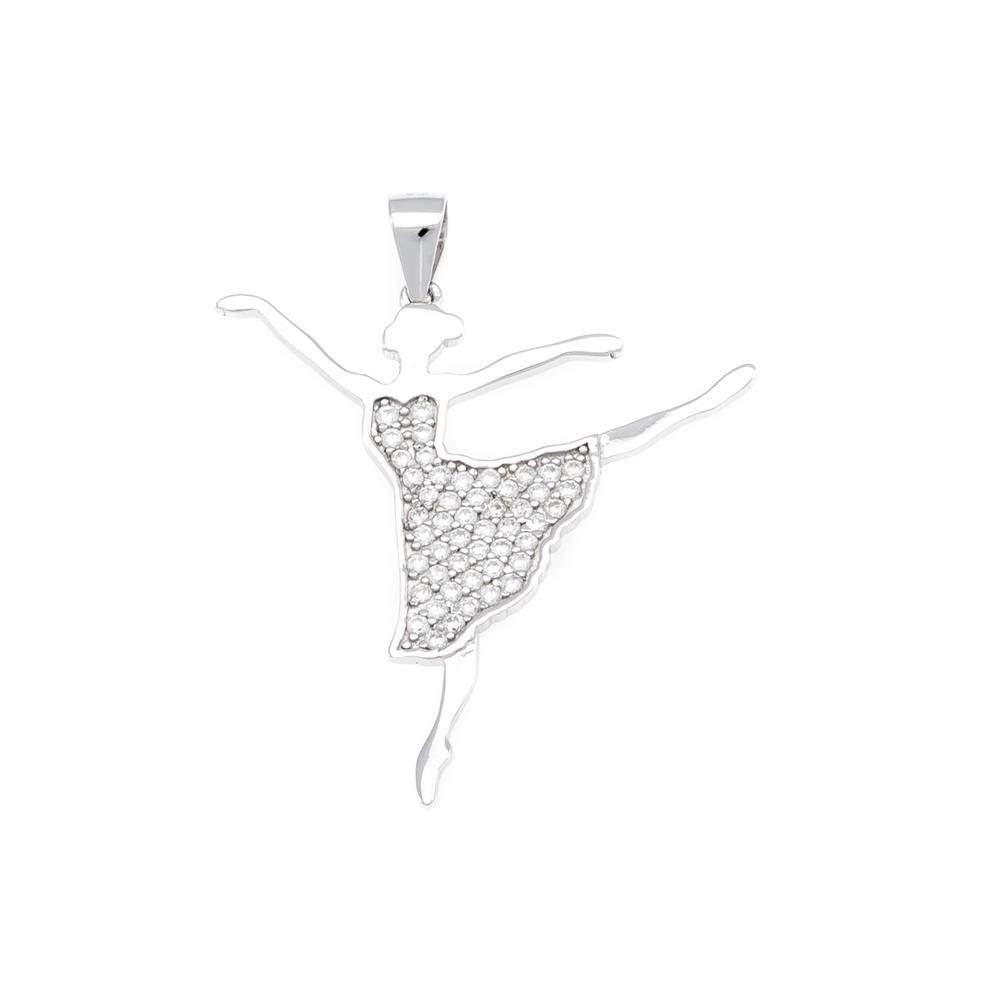 Paclo 16M014IPPR999 argento ag 925 Pendente Galvanica Rodiata Zircone Bianco Ballerina 3cm