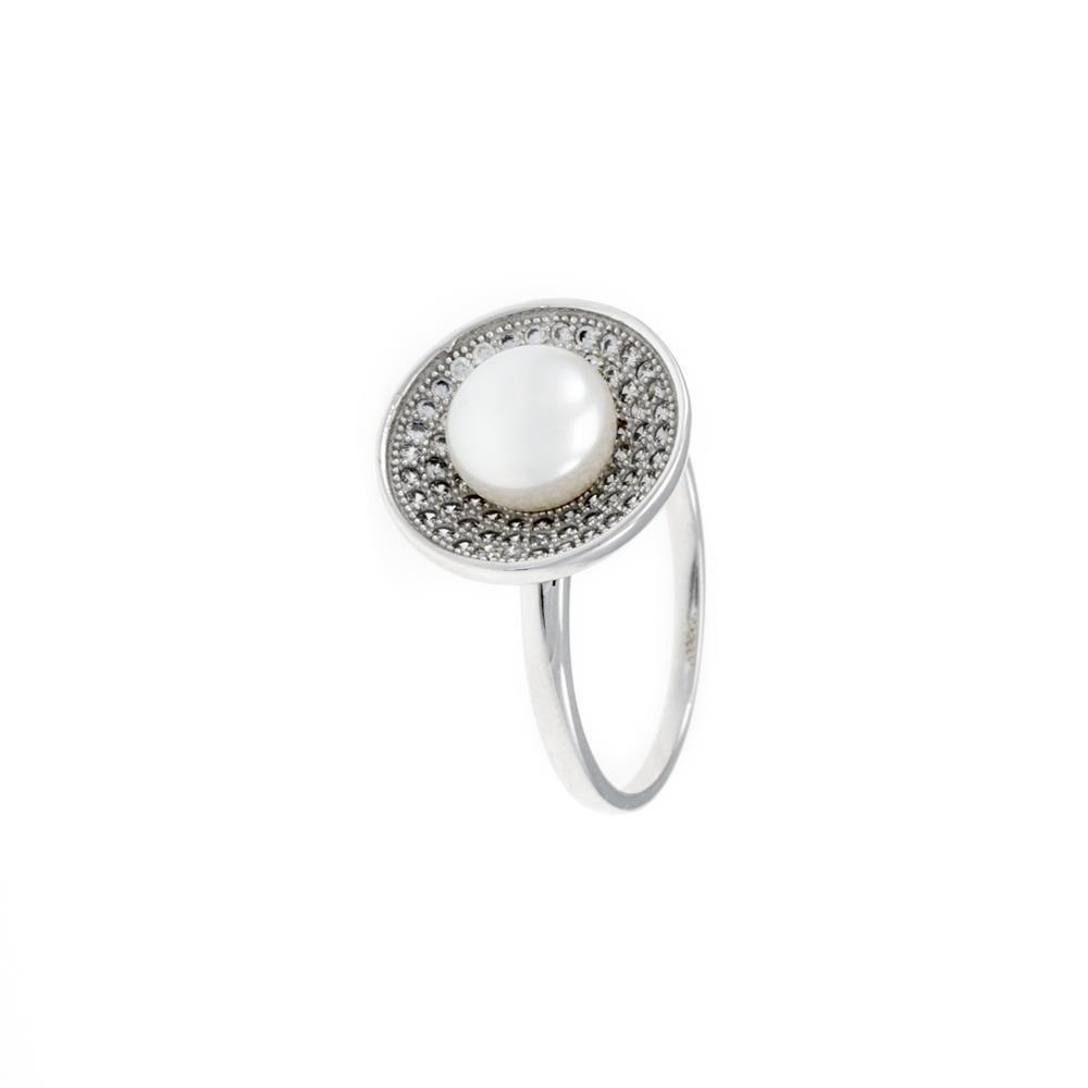 Paclo 16PE05IPRR996 argento ag 925 Anello Dim 14 ITA o 54 ISO Galvanica Rodiata Perle sintetiche Zircone Bianco