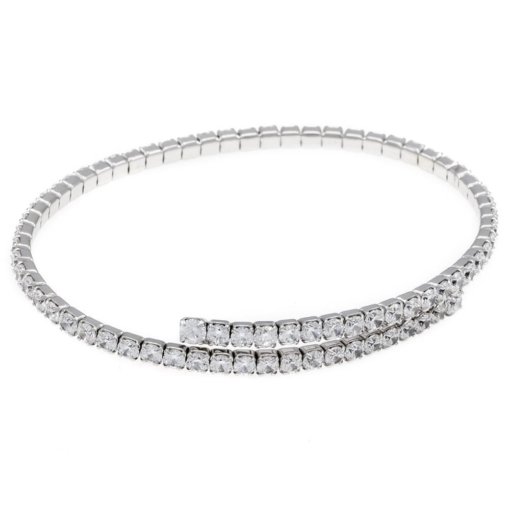Paclo 16T005IPDR999 argento ag 925 Bracciale schiava Galvanica Rodiata Zircone Bianco