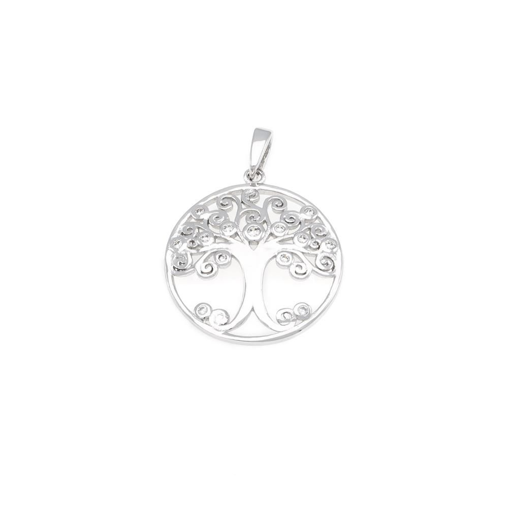 Paclo 16TL05IPPR999 argento ag 925 Pendente Galvanica Rodiata Zircone Bianco Albero della Vita 2cm