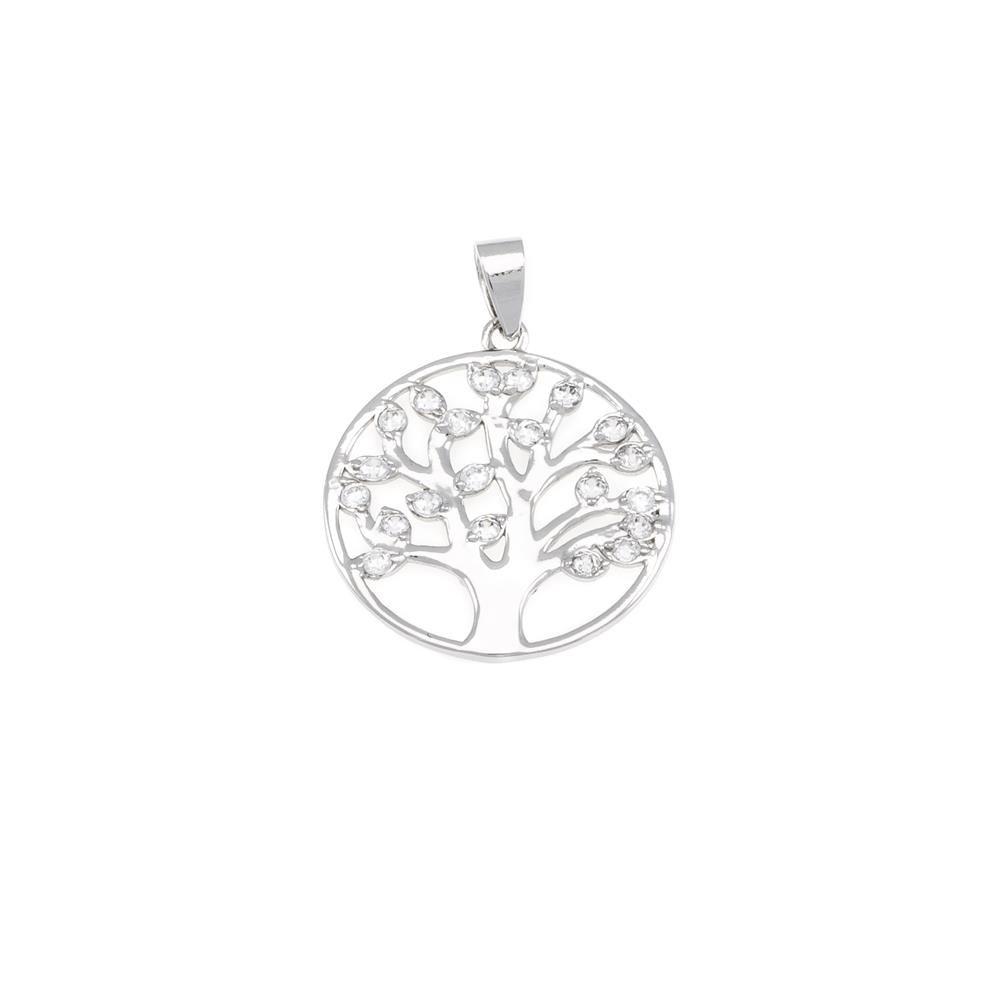 Paclo 16TL06IPPR999 argento ag 925 Pendente Galvanica Rodiata Zircone Bianco Albero della Vita 2cm