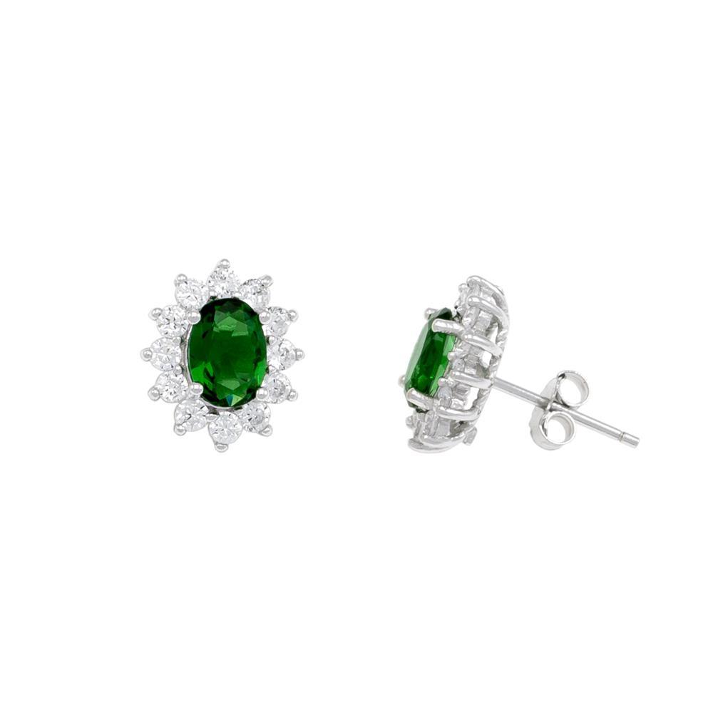 Paclo 16Z084IPER999 argento ag 925 Orecchini Galvanica Rodiata Zircone Colorato Verde 12cm