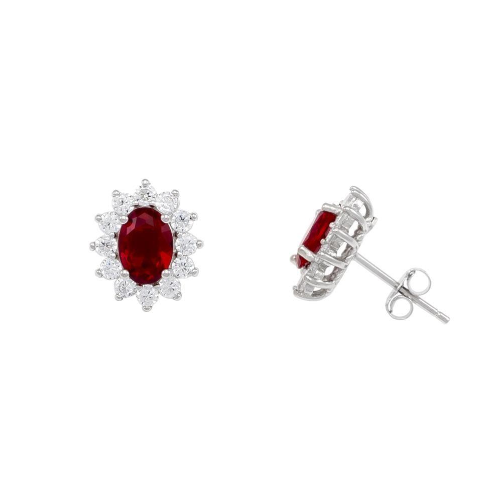 Paclo 16Z089IPER999 argento ag 925 Orecchini Galvanica Rodiata Zircone Colorato Rosso 12cm