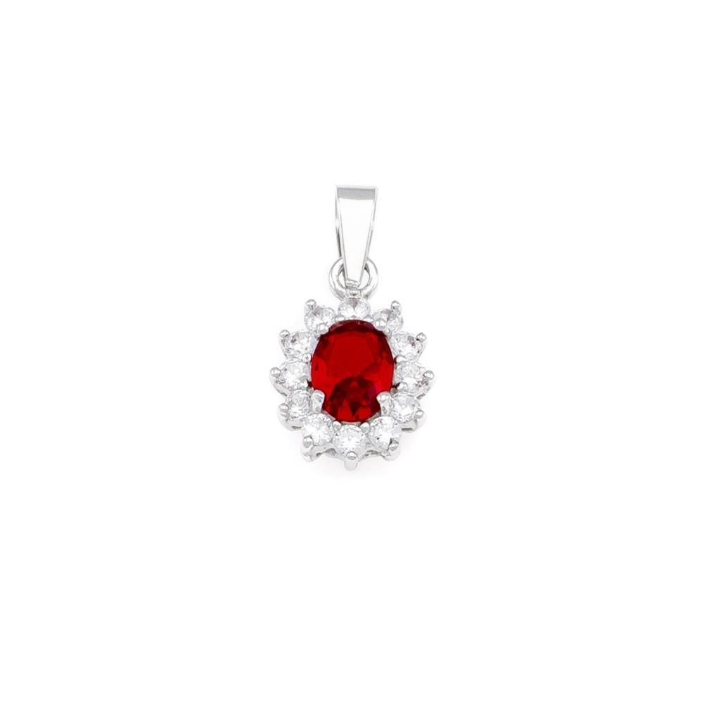 Paclo 16Z089IPPR999 argento ag 925 Pendente Galvanica Rodiata Zircone Colorato Rosso 12cm