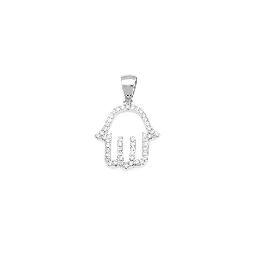 Paclo 16Z090IPPR999 argento ag 925 Pendente Galvanica Rodiata Zircone Bianco Mano di Fatima 17cm