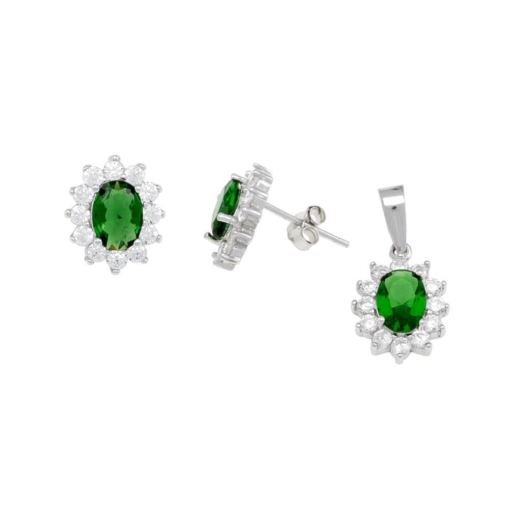 Paclo 16Z096IPSR999 argento ag 925 Set Galvanica Rodiata Zircone Colorato Verde P 1cm E 11cm