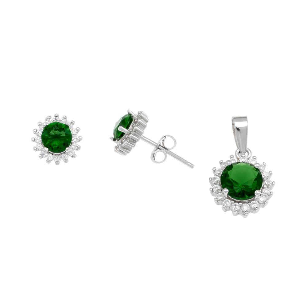 Paclo 16Z097IPSR999 argento ag 925 Set Galvanica Rodiata Zircone Colorato Verde P 1cm E 07cm