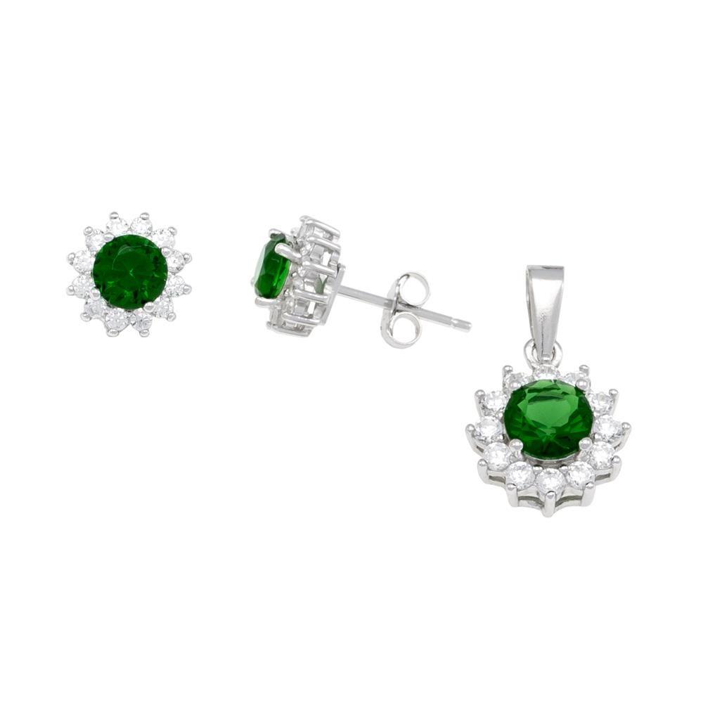 Paclo 16Z099IPSR999 argento ag 925 Set Galvanica Rodiata Zircone Colorato Verde P 1cm E 07cm
