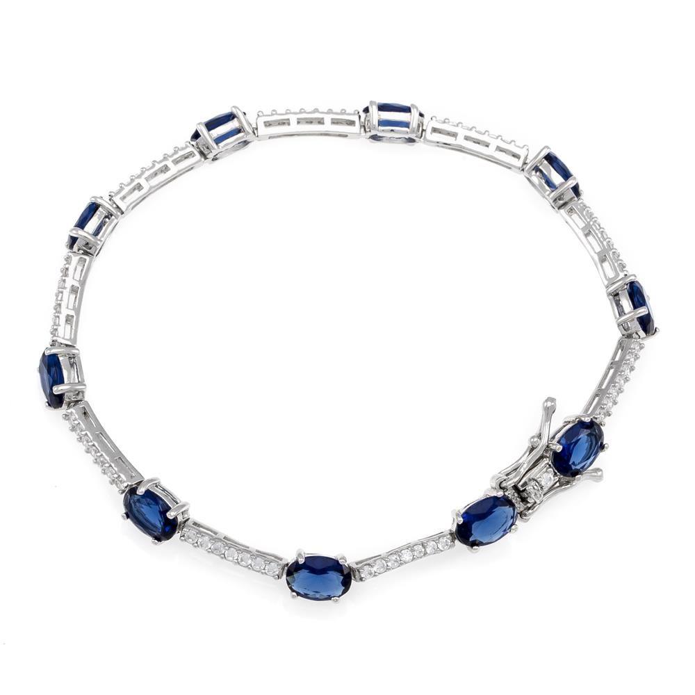 Paclo 16Z105IPTR999 argento ag 925 Tennis Galvanica Rodiata Zircone Colorato Blu 19cm