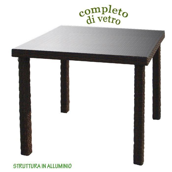 Tavolo in Polirattan con Vetro 80 x 80 cm