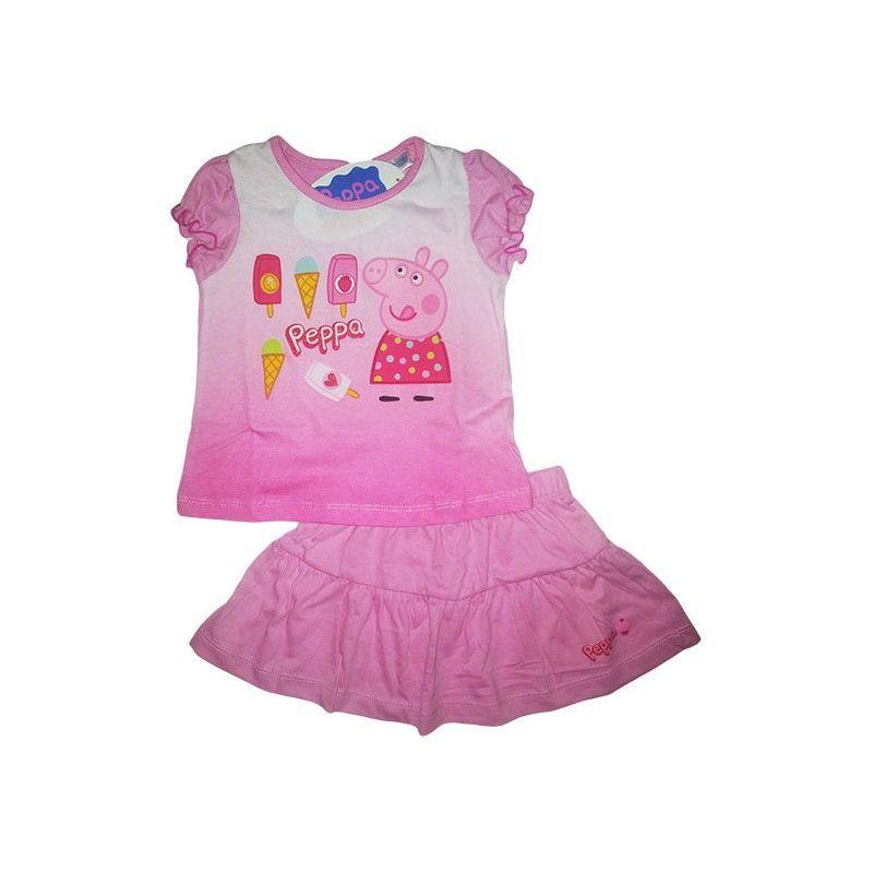 Completo maglia maglietta gonna bimba neonato Peppa Pig rosa 24 m