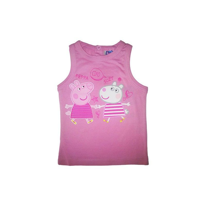 Tshirt maglia maglietta senza manica bimba neonato Peppa Pig rosa 18 m