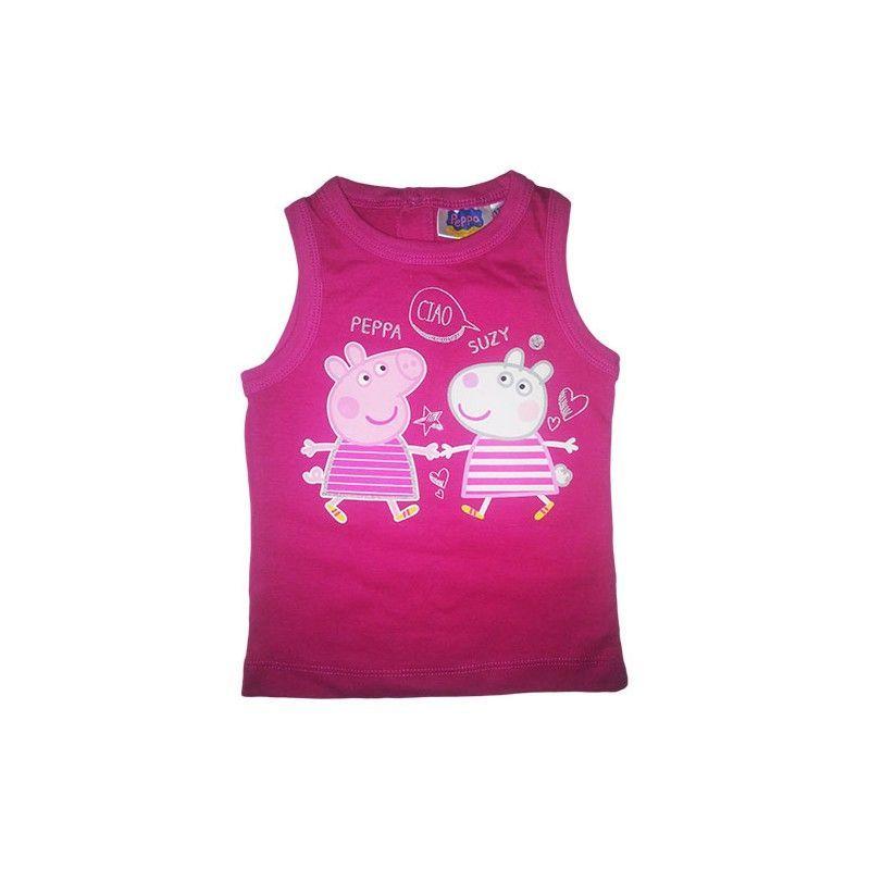 Tshirt maglia maglietta senza manica bimba neonato Peppa Pig fucsia 30 m