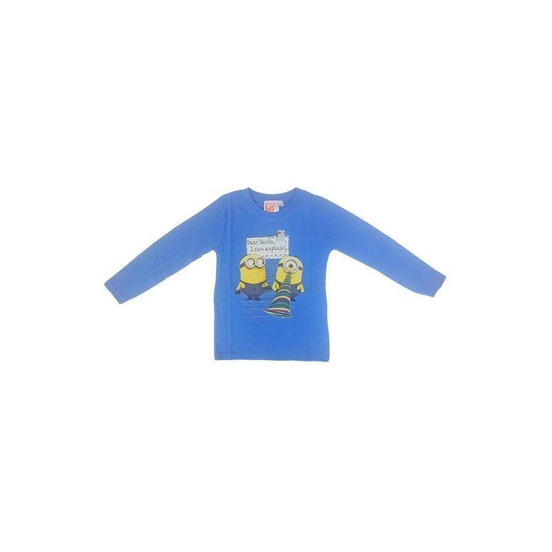 Tshirt maglia maglietta cotone bimbo bambino Minions azzurro 8A