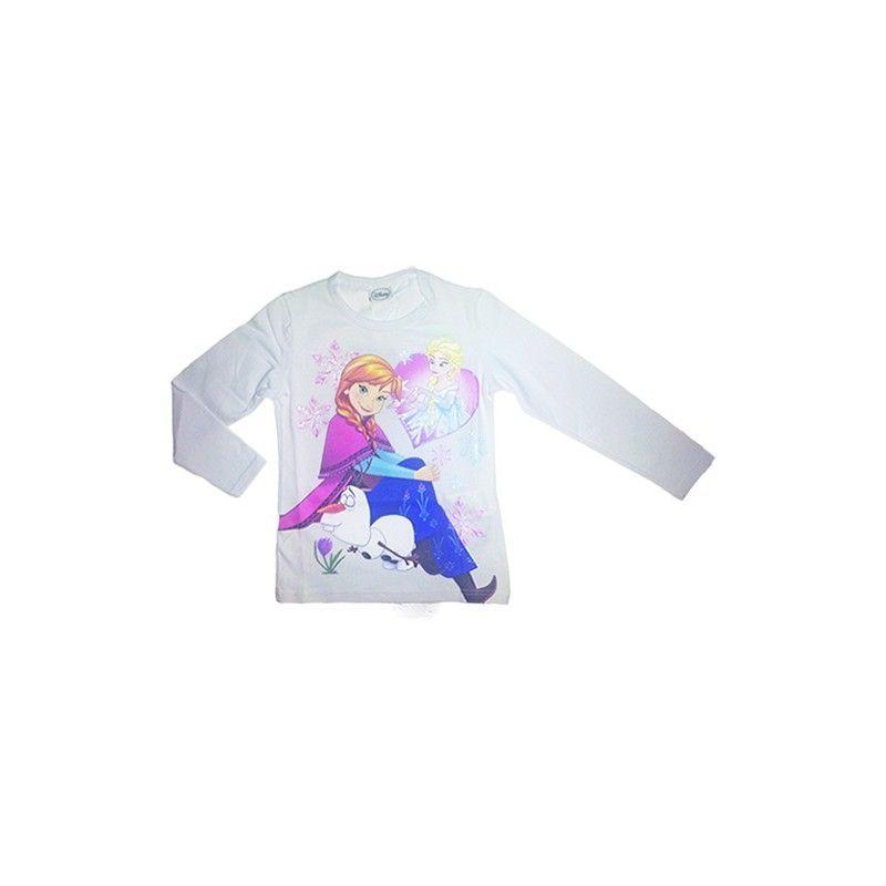 Tshirt maglia maglietta cotone bimba bambina Disney Frozen bianco 10A