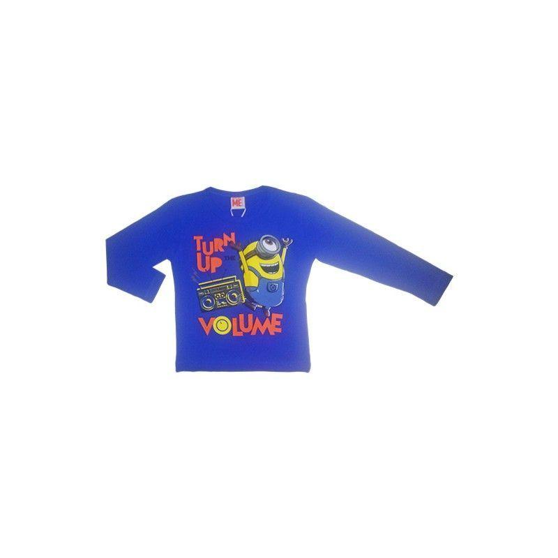 Tshirt maglia maglietta cotone bimbo bambino Minions bluette 4A