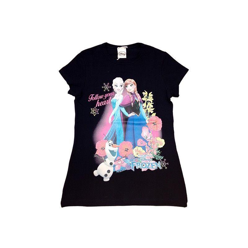 Tshirt maglia maglietta cotone bielastico bimba bambina Disney Frozen blu 4A
