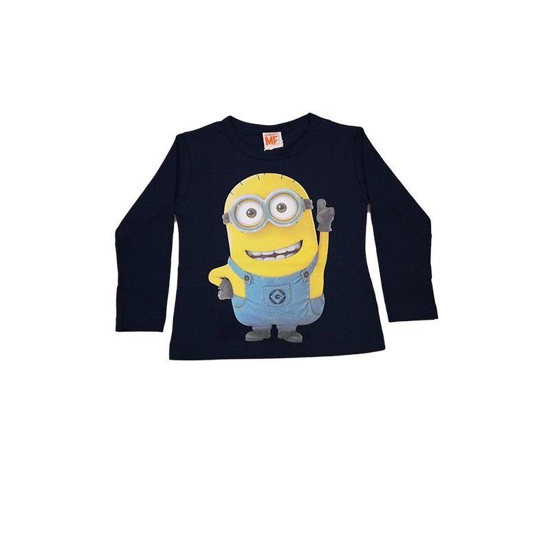 Tshirt maglia maglietta cotone bielastico bimbo bambino Minions blu 4A