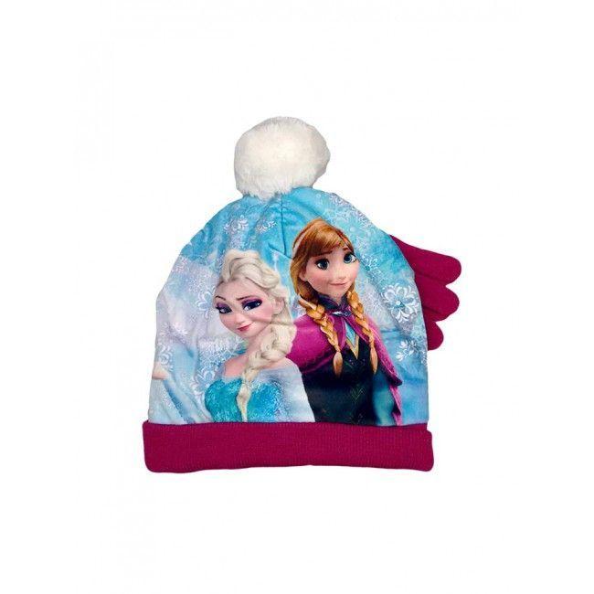 Set 2pz cappello cappellino pon pon guanti bimba bambina Disney frozen prugna tg 54