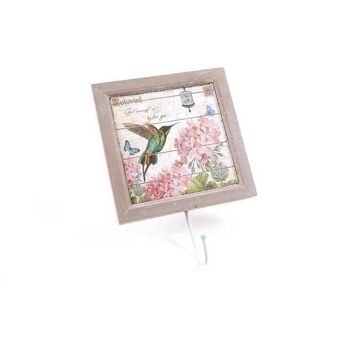 Mercury Quadro in Legno Bird e Flower con Gancio 14 x 19 cm