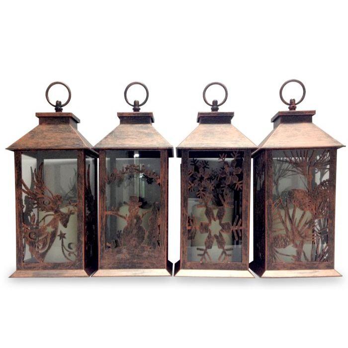 Lanterna Marrone con Luce 35 cm