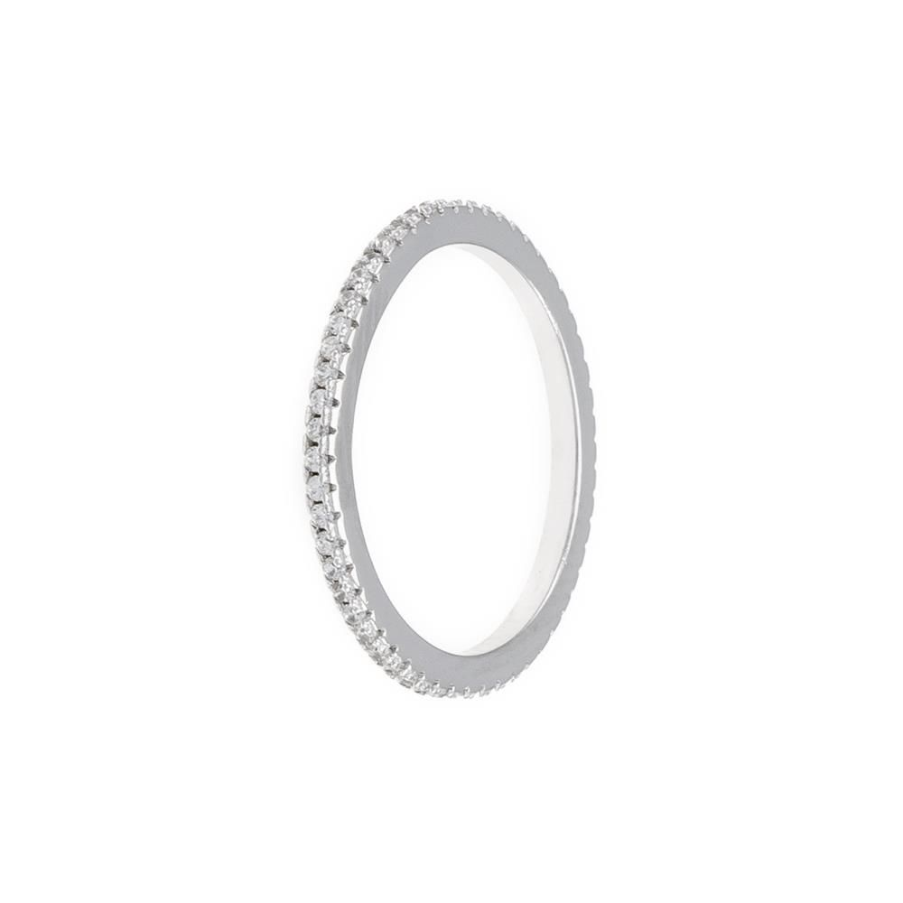 Paclo 11Z107IPRR99X argento ag 925 Anello Dim 12 ITA o 52 ISO Galvanica Rodiata Zircone Bianco