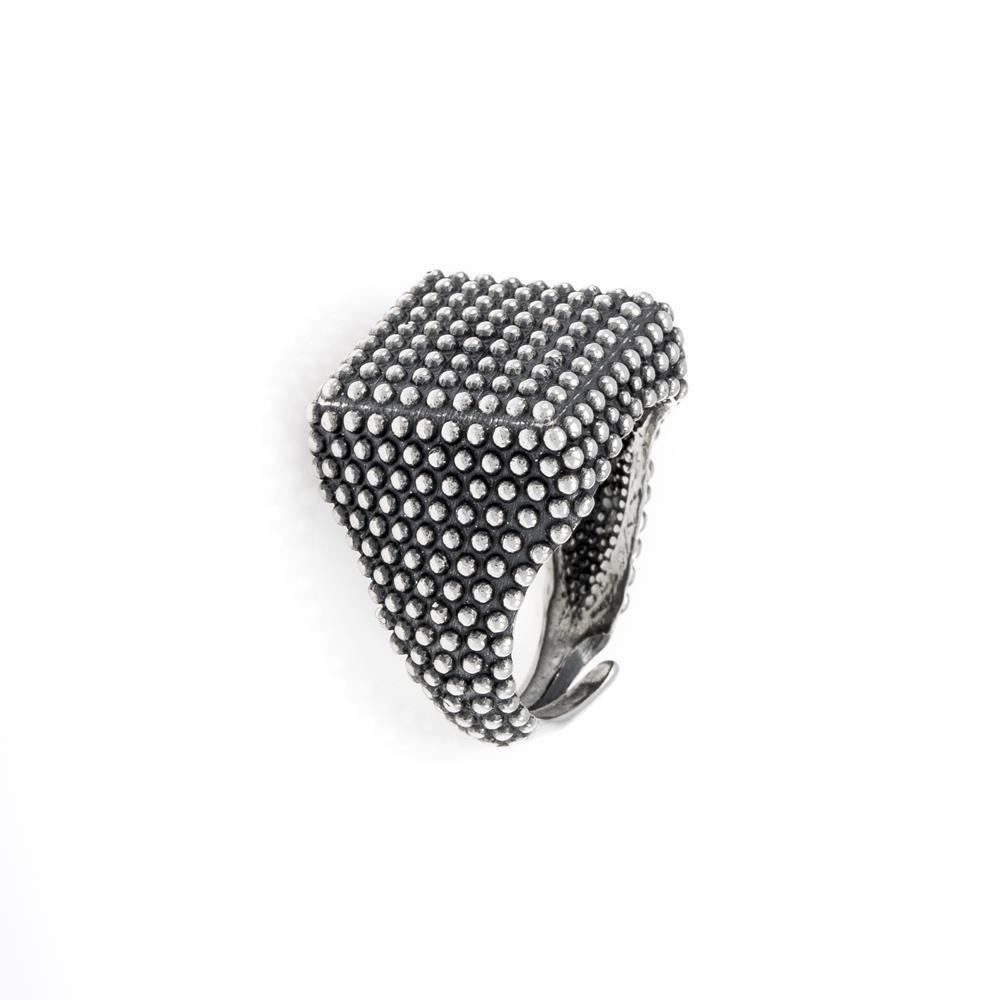 Paclo 16AD33MARO99A argento ag 925 Anello Anello Regolabile Galvanica Ossidata Quadrato 2cm