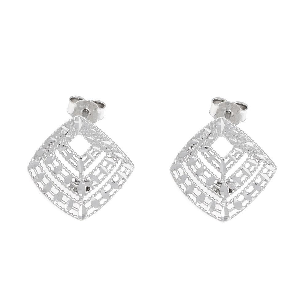 Paclo 16DC30LIER999 argento ag 925 Orecchini Galvanica Rodiata Diamantato 2cm