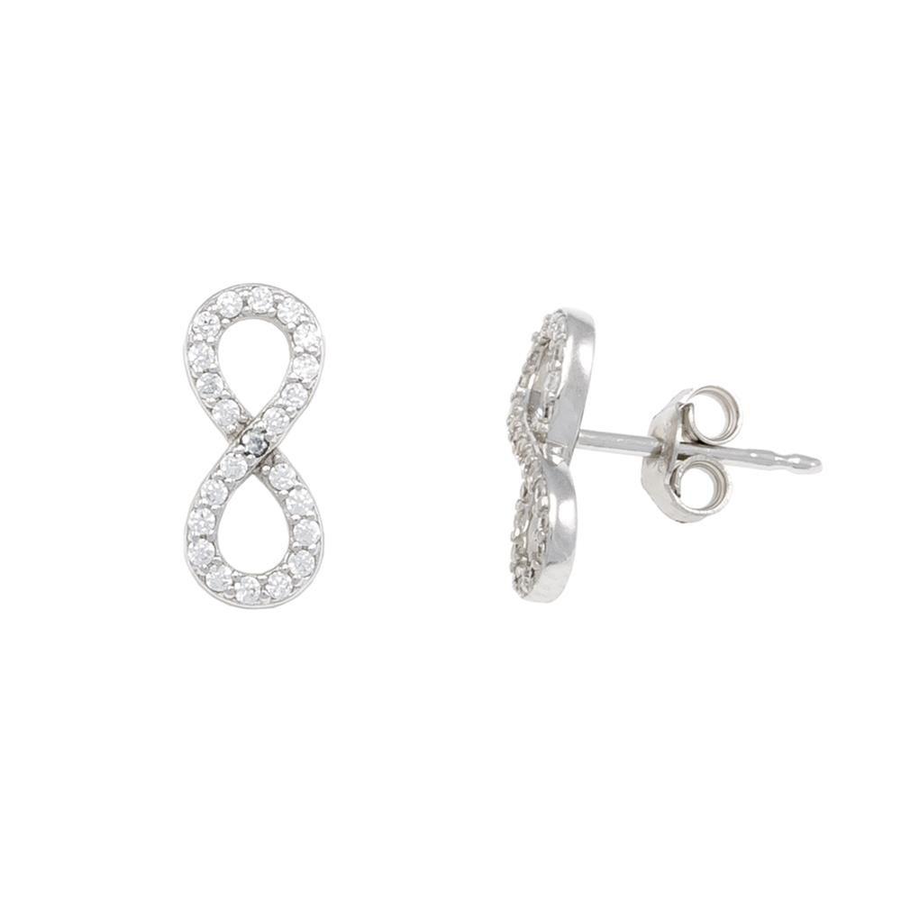 Paclo 16IN09IPER999 argento ag 925 Orecchini Galvanica Rodiata Zircone Bianco Infinito 13cm