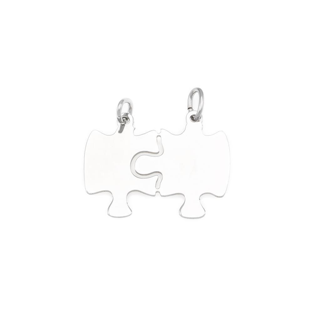 Paclo 16PZ03LIPR999 argento ag 925 Pendente Galvanica Rodiata con Soggetti Spezzabili Puzzle 2cm