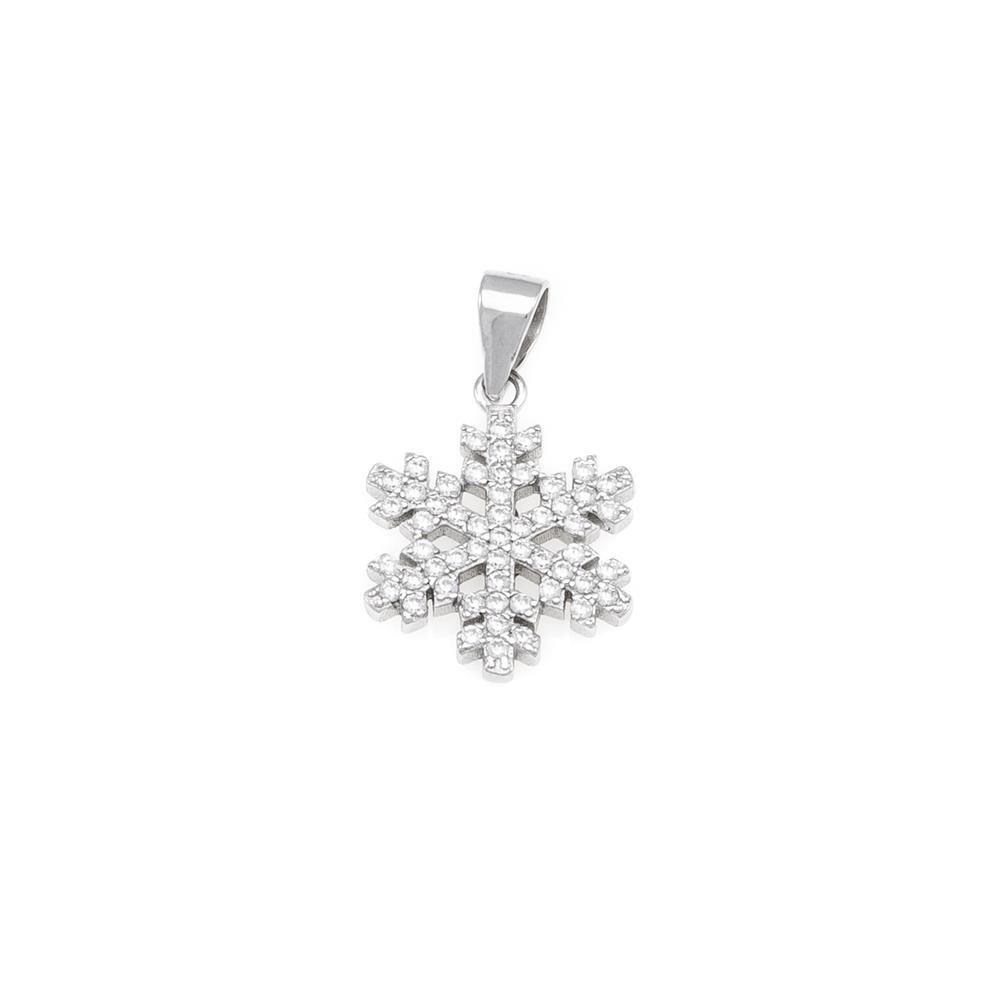 Paclo 16SF04IPPR999 argento ag 925 Pendente Galvanica Rodiata Zircone Bianco Fiocco di Neve 15cm