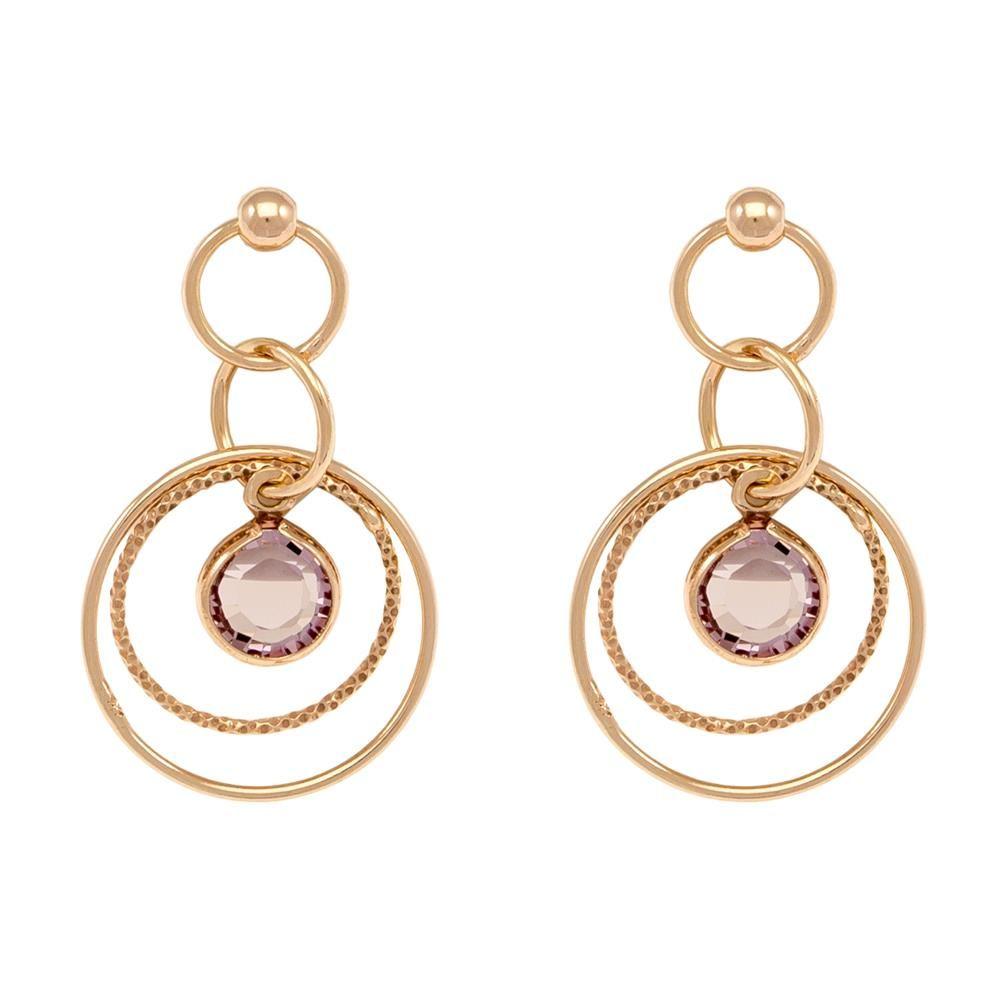 Paclo 16C080STEP999 argento ag 925 Orecchini Galvanica Rose e Swarovski Crystals Light Rose 3cm