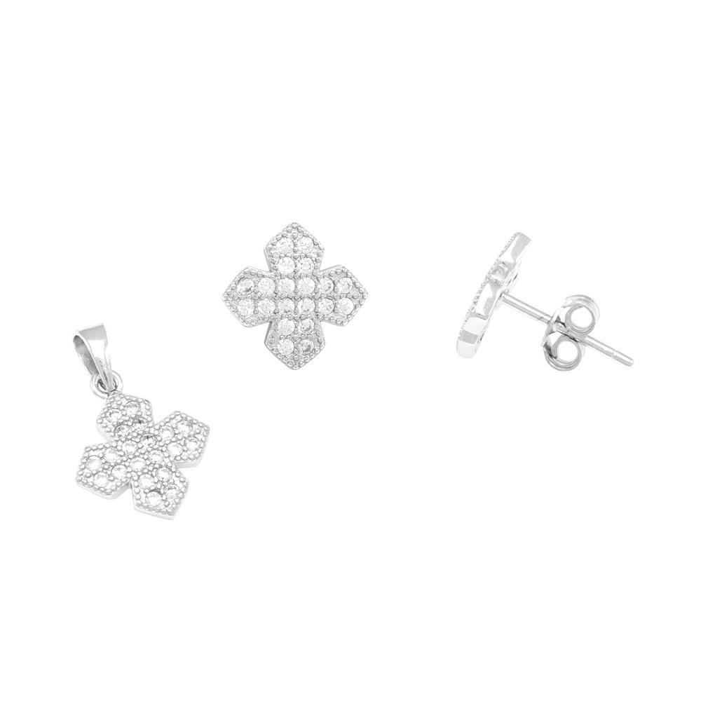 Paclo 16Z122IPER999 argento ag 925 Orecchini Galvanica Rodiata Zircone Bianco X P1cm E06cm