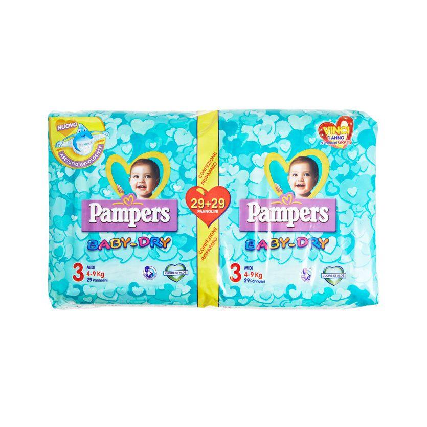 pannolini Pampers Baby Dry Midi pacco doppio 58 pezzi 49 kg