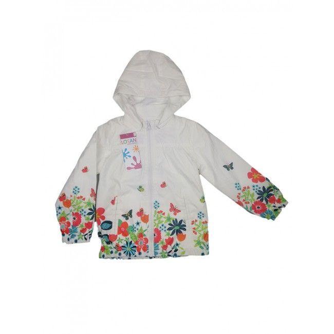 Giubbino giacca a vento bimba bambina Losan bianco fantasia 4A