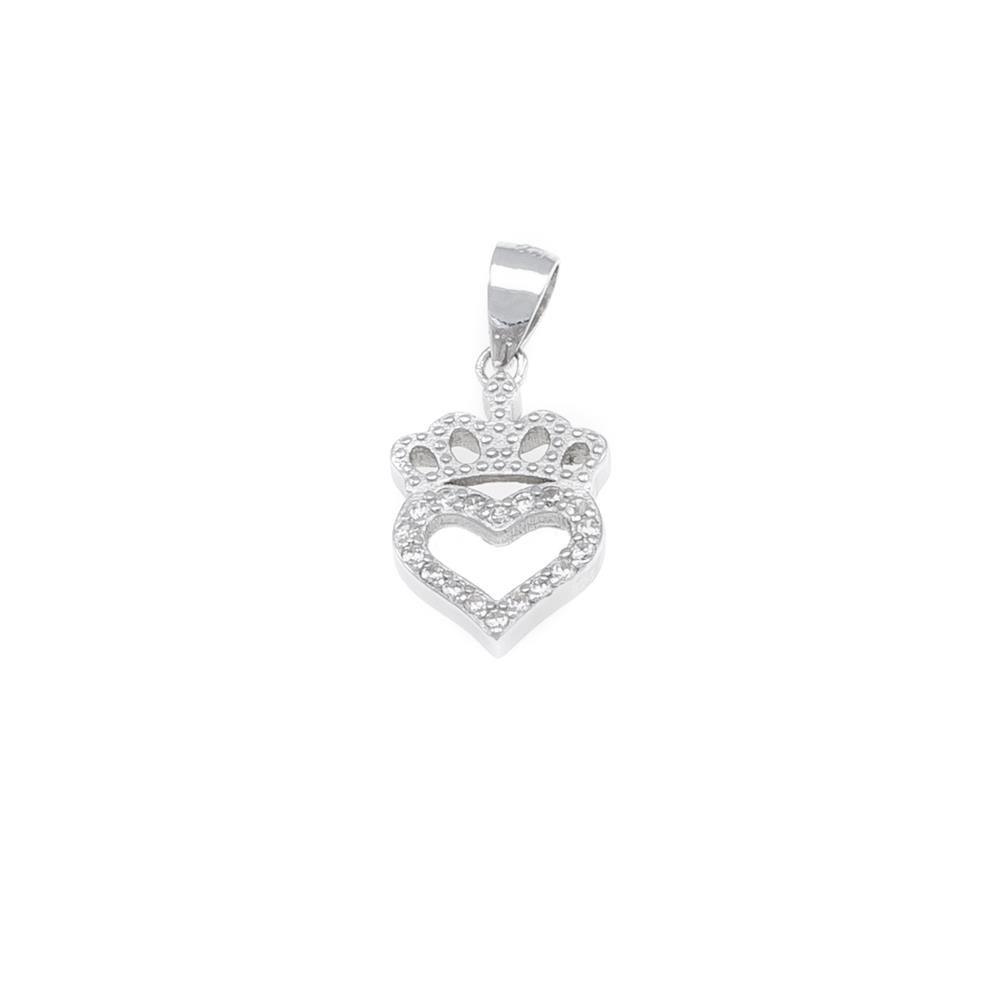 Paclo 17C004IPPR999 argento ag 925 Pendente Galvanica Rodiata Zircone Bianco Cuore e Corona 15cm